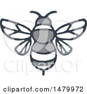 Clipart Of A Grayscale Bumble Bee Sketch Royalty Free Vector Illustration