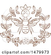 Clipart Of A Bumble Bee And Coffee Flowers Royalty Free Vector Illustration