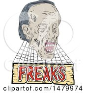 Clipart Of A Sketched Zombie Head With Cobwebs Over A Freak Sign Royalty Free Vector Illustration