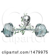 Skull Lifting A Barbell With A Scottish Thistle Vine In Sketched Tattoo Style On A White Background