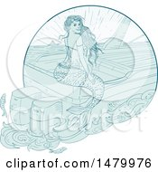 Clipart Of A Sketched Siren Mermaid Sitting On A Boat Royalty Free Vector Illustration by patrimonio