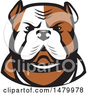 Clipart Of A Tough American Bulldog Head In Tan And White Royalty Free Vector Illustration by patrimonio