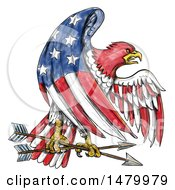 Clipart Of A Bald Eagle In An American Flag Pattern Grasping Arrows On A White Background Royalty Free Illustration