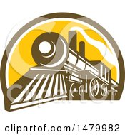 Clipart Of A Steam Train In A Brown White And Yellow Half Circle Royalty Free Vector Illustration by patrimonio