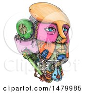 Poster, Art Print Of Colorful Female Robot Head In Sketched Style On A White Background
