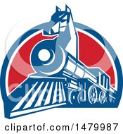 Clipart Of A Iron Horse Headed Train In A Red White And Blue Half Circle Royalty Free Vector Illustration