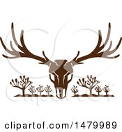 Clipart Of A Buck Mule Deer Skull With Antlers Over Joshua Trees Royalty Free Vector Illustration