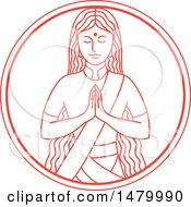 Clipart Of An Indian Woman In A Namaste Pose In Red And White Lineart Style Royalty Free Vector Illustration