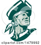 Clipart Of A Green And White Pirate Captain Looking Off To The Side Royalty Free Vector Illustration by patrimonio