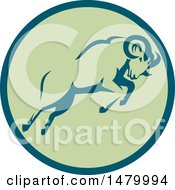 Clipart Of A Charging Ram In A Teal And Green Circle Royalty Free Vector Illustration