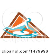 Clipart Of A Curling Player Sliding A Stone Inside An Orange Triangle Royalty Free Vector Illustration