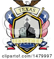 Retro Bald Eagle Crest With A Battle Ship State And Texas Navy Flags Flags