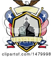Clipart Of A Retro Bald Eagle Crest With A Battle Ship State And Texas Navy Flags Royalty Free Vector Illustration