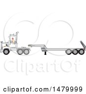 Clipart Of A Trucker Backing Up A Tracter To A Low Boy Trailer Royalty Free Vector Illustration