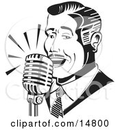Man Singing Or Announcing Into A Microphone Clipart Illustration