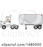 Clipart Of A Trucker Backing Up A Tracter To A Tanker Royalty Free Vector Illustration