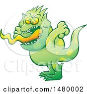 Clipart Of A Spotted Green Monster Screaming Royalty Free Vector Illustration by Zooco