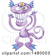 Poster, Art Print Of Happy Purple Monster Grinning
