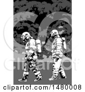 Clipart Of Grayscale Firemen Walking Royalty Free Vector Illustration