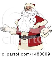 Clipart Of A Shrugging Christmas Santa Claus Royalty Free Vector Illustration by dero