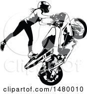 Clipart Of A Black And White Female Biker Doing A Stunt Royalty Free Vector Illustration by dero