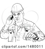 Clipart Of A Black And White Male Worker Talking On A Cell Phone Royalty Free Vector Illustration by dero