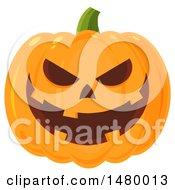 Clipart Of A Grinning Evil Halloween Jackolantern Pumpkin Royalty Free Vector Illustration
