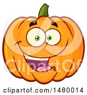 Clipart Of A Happy Pumpkin Character Mascot Royalty Free Vector Illustration