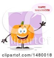 Clipart Of A Happy Pumpkin Character Mascot Waving And Saying Happy Halloween Royalty Free Vector Illustration