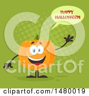Happy Pumpkin Character Mascot Waving And Saying Happy Halloween On Green