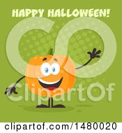 Clipart Of A Happy Pumpkin Character Mascot Waving Under Happy Halloween On Green Royalty Free Vector Illustration