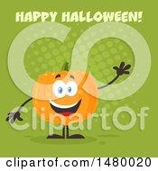 Happy Pumpkin Character Mascot Waving Under Happy Halloween On Green