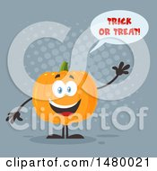 Happy Pumpkin Character Mascot Waving And Saying Trick Or Treat On Gray