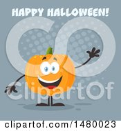 Clipart Of A Happy Pumpkin Character Mascot Waving Under Happy Halloween On Gray Royalty Free Vector Illustration