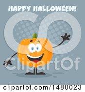 Happy Pumpkin Character Mascot Waving Under Happy Halloween On Gray