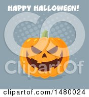 Grinning Evil Jackolantern Pumpkin With Happy Halloween Text Over Gray Dots