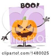 Clipart Of A Waving Evil Halloween Jackolantern Pumpkin Saying Boo Royalty Free Vector Illustration