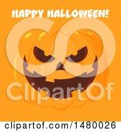 Grinning Evil Jackolantern Pumpkin With Happy Halloween Text On Orange
