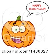 Clipart Of A Happy Pumpkin Character Mascot Saying Happy Halloween Royalty Free Vector Illustration