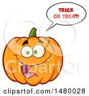 Happy Toothy Pumpkin Character Mascot Saying Trick Or Treat