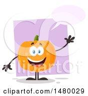 Clipart Of A Happy Pumpkin Character Mascot Waving And Talking Royalty Free Vector Illustration