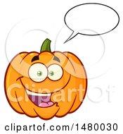 Clipart Of A Happy Pumpkin Character Mascot Talking Royalty Free Vector Illustration