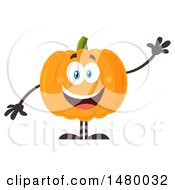 Clipart Of A Happy Pumpkin Character Mascot Waving Royalty Free Vector Illustration