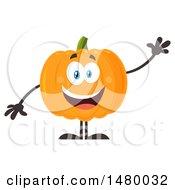 Happy Pumpkin Character Mascot Waving
