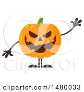 Clipart Of A Waving Evil Halloween Jackolantern Pumpkin Royalty Free Vector Illustration by Hit Toon