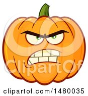 Clipart Of A Mad Pumpkin Character Mascot Royalty Free Vector Illustration