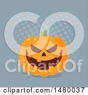 Clipart Of A Grinning Evil Halloween Jackolantern Pumpkin Over Gray Dots Royalty Free Vector Illustration