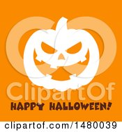 White Silhouetted Grinning Evil Jackolantern Pumpkin With Happy Halloween Text On Orange