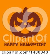Silhouetted Grinning Evil Jackolantern Pumpkin With Happy Halloween Text On Orange