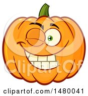 Clipart Of A Pumpkin Character Mascot Winking Royalty Free Vector Illustration